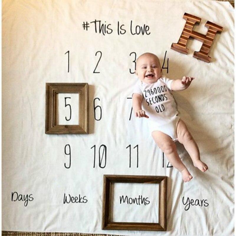 100 * 100CM التصوير الفوتوغرافي حديثي الولادة الدعائم البطانيات طفل أرقام الحروف تصميم أبيض وأسود طفل بطانية حديثي الولادة التصوير دعامة