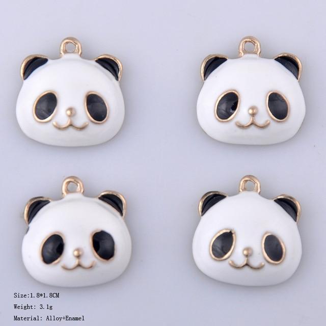 Korean cute enamel China panda charms fashion alloy animal cartoon pendants hair accessories diy jewelry making Chinese culture