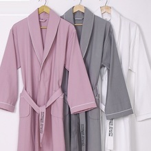 New 100% pure Cotton material plain color bathrobes robe Hotel Unisex  pajamas sauna clothes waffle 3c36c9370