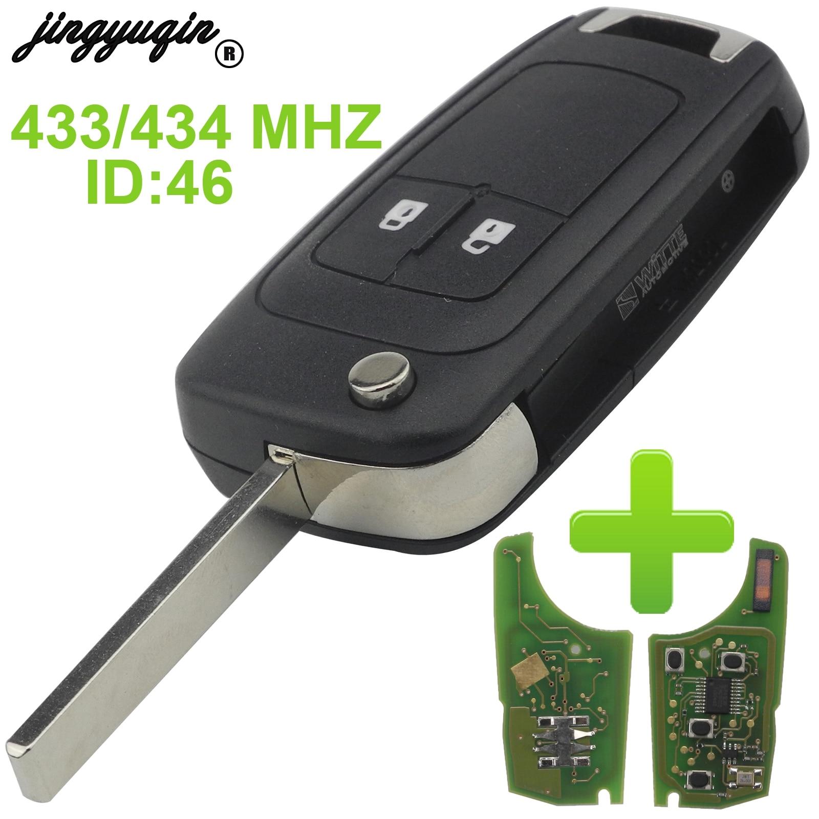 Jingyuqin 2/3/4 Tasten Fernbedienung Fob Flip Folding Auto Schlüssel Shell Abdeckung Für Chevrolet Cruze PCF7937E 433 mhz Mit ID46 Chip