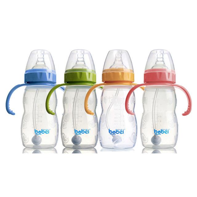 260 ml garrafa garrafa infantil bebê com colher de silicone com alça de elevação automática de alimentação do bebê garrafa de bebida suco de palha venda