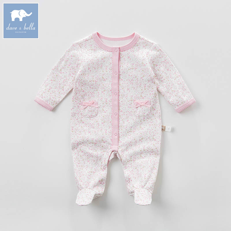 DBM6971 dave bella spring new born baby cotton romper infant clothes girls floral cute romper baby 1 piece db5033 dave bella summer new born baby unisex rompers cotton infant romper kids lovely 1 pc children romper