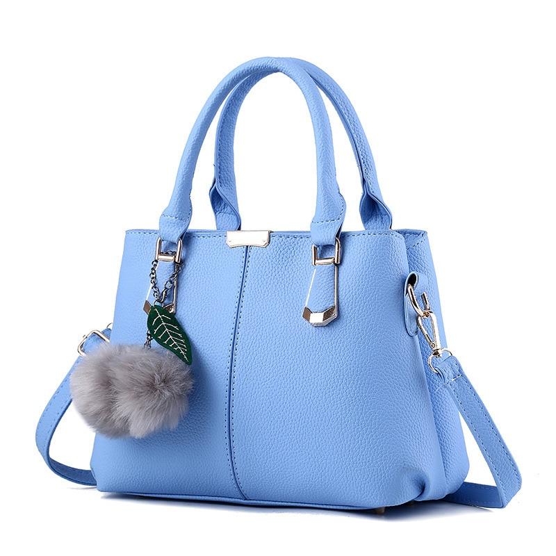 Elegant Casual Fashion Women Handbag Light Blue PU Multifunction Crossbody Messenger Shoulder Bag fashion elegant m