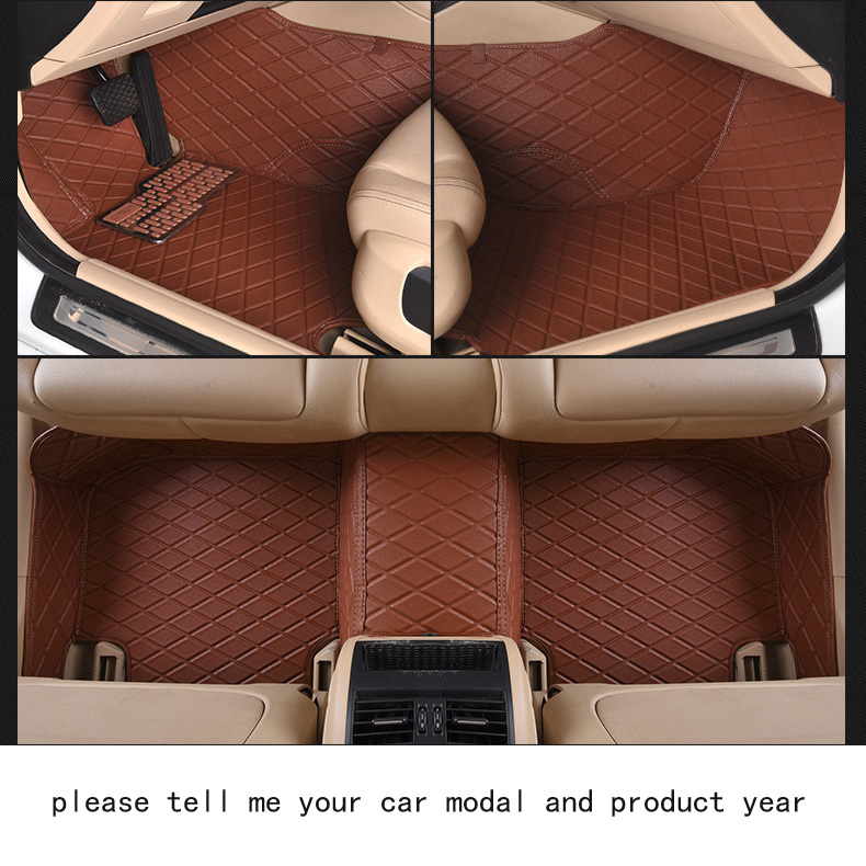 for Volkswagen vw Polo firm leather Wear-resisting Car floor mats black brown Non-slip custom made waterproof car floor Carpets car rear trunk security shield cargo cover for volkswagen vw tiguan 2016 2017 2018 high qualit black beige auto accessories
