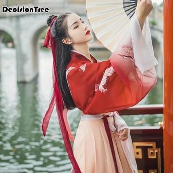 2020 classical hanfu costume women tang traditional chinese ancient costume for women red crane dance hanfu dress