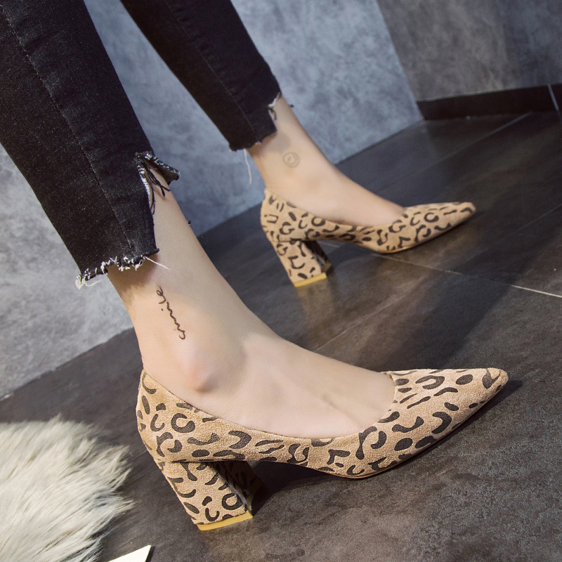 423a558afb08 Fashion Suede Leather Elegant Women Pumps Black Pink Leopard Pointed Toe  Square High Heels Winter Shoes Short plush Career Dress-in Women's Pumps  from Shoes ...