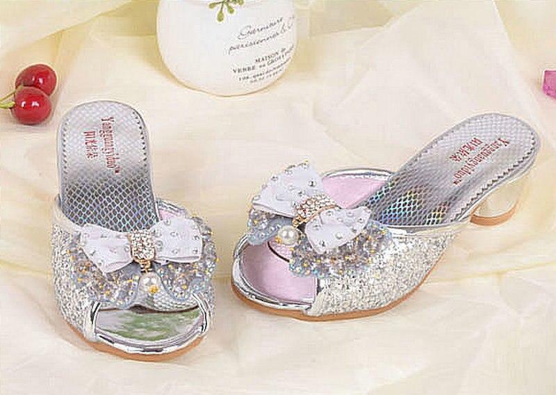 Luxe Zomer Kinder Kinder Meisjes Prinses Slippers Hoge hakken Lederen - Kinderschoenen - Foto 5
