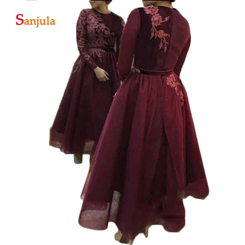 Bordeaux Tulle jupe mère de la mariée robes manches longues Abaya arabe Volvet Top Appliques cheville longueur robes formelles D883