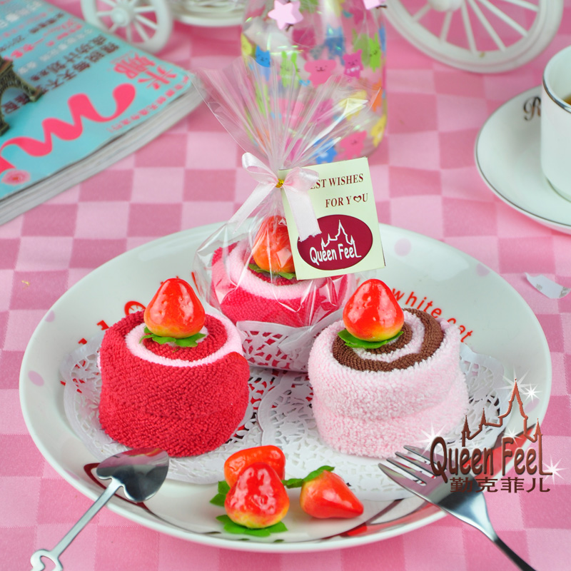 2020cm 2pcs Set Yummy Strawberry Mini Swiss Roll Cotton Cake Towel Wedding Favors And Gifts Baby Shower Birthday Party Supplies In From Home