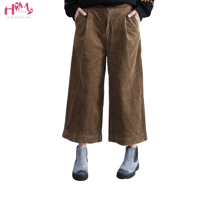 Literature Brief Loose Plus Size Women Corduroy   Wide     Leg     Pants   All-match Ankle-length   Pants   Fashion Comfortable Leisure   Pants