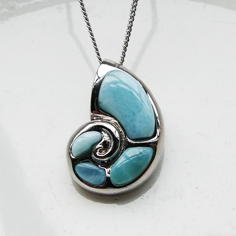 Real Natural Larimar 100% 925 Sterling Silver Cute Conch Pendant Genuine Stone Charm Pendant for Women Gift without Chain graceful conch shape embellished sweater chain for women