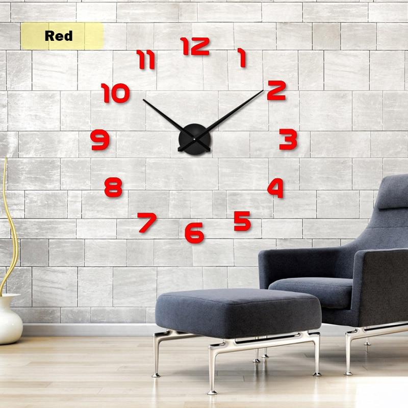 2019 muhsein Große Wanduhr Horloge 3d Diy Acrylspiegel Aufkleber - Wohnkultur - Foto 2