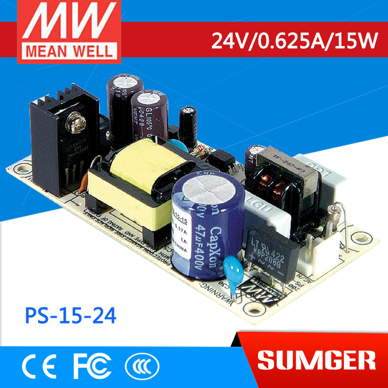 ФОТО [Freeshiping 6Pcs] MEAN WELL original PS-15-24 24V 0.625A meanwell PS-15 24V 15W Single Output Switching Power Supply