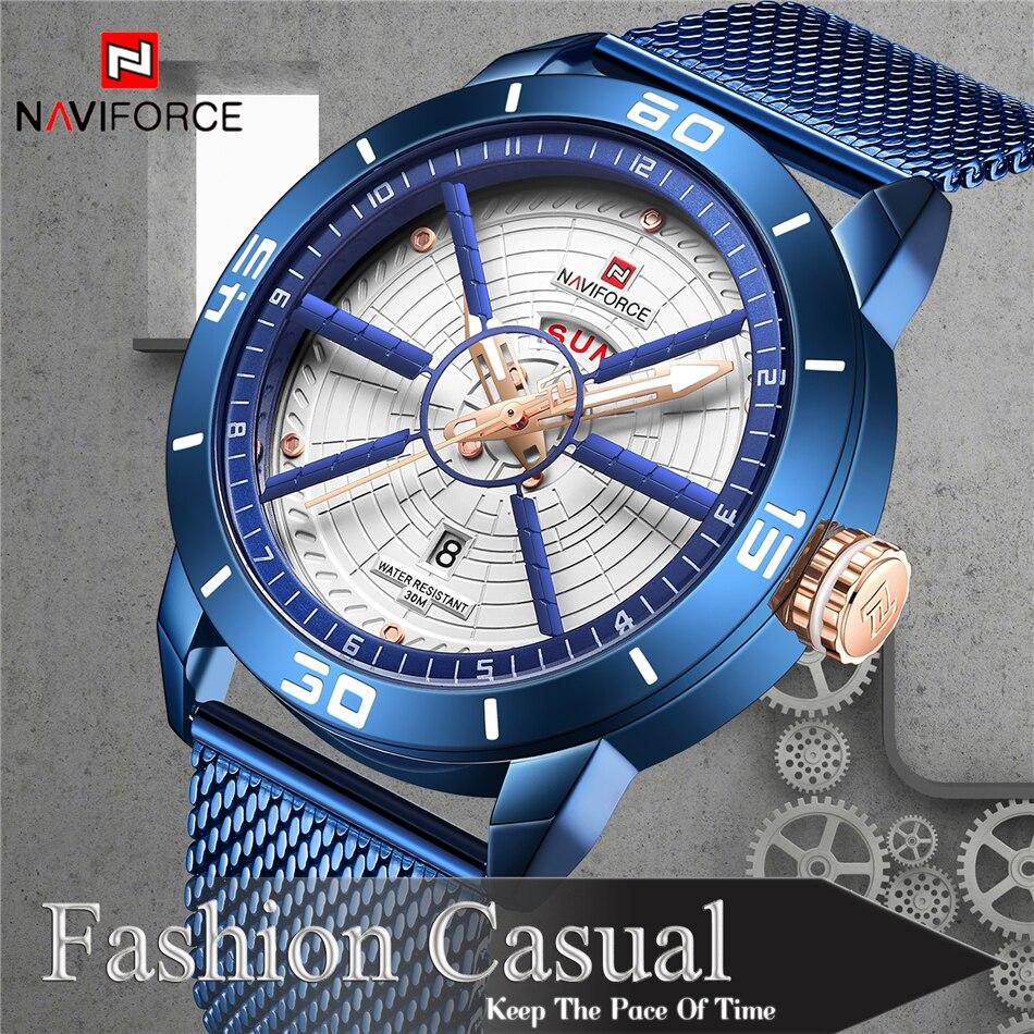 NAVIFORCE Mens Watches Top Brand Luxury Quartz Watch Men Full Steel Men Watch Sport Fashion Business Watches Relogio Masculino 8