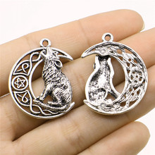 WYSIWYG 3pcs Charms Viking Wolf 26x33mm Antique Silver Pendant Viking Wolf Charms For Jewelry Making Jewelry Findings
