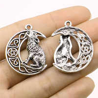 WYSIWYG 2pcs Charms Viking Wolf 26x33mm Antique Silver Color Pendant Viking Wolf Charms For Jewelry Making Jewelry Findings