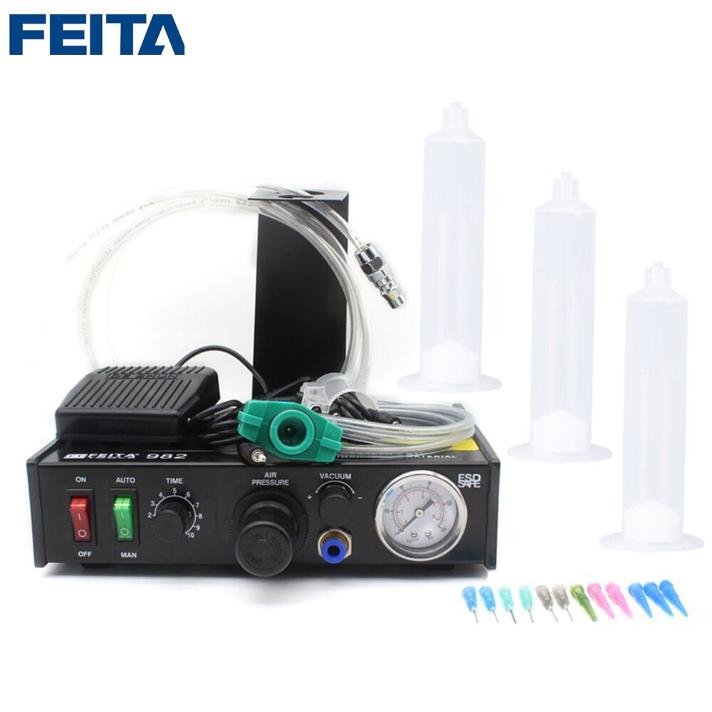FEITA FT-982 Semi-automatic Liquid Glue Dispensing Dispenser Machine with  Manual Operation and Foot Pedal 11 11 free shippinng 6 x stainless steel 0 63mm od 22ga glue liquid dispenser needles tips