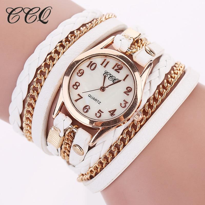 2017 CCQ Fashion Gold Chain Leather Bracelet Watch Women Casual Wrist Watch Analog Quartz Watch Clock Hour Relogio Feminino 1071 100% new original bare projector bulb sp lamp 054 p vip280 0 9 e20 9 for infocus in8602 sp8602