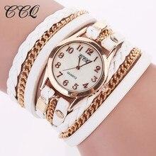 2017 CCQ Style Gold Chain Leather-based Bracelet Watch Girls Informal Wrist Watch Analog Quartz Watch Clock Hour Relogio Feminino 1071