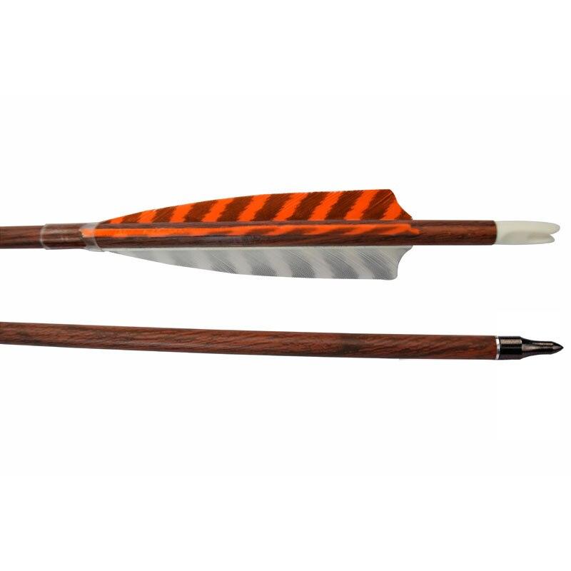 12Pcs Carbon Arrow Red Wood Camo Spine 500 Pure Carbon Fibre Screw Field Point Recurve Bow
