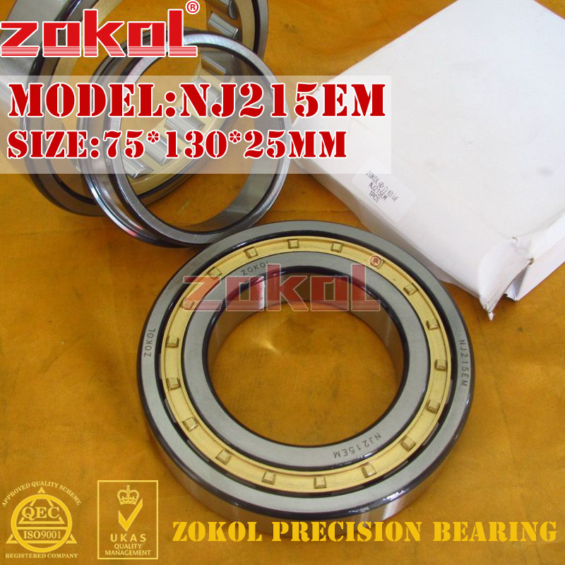 цены ZOKOL NJ215 E M bearing NJ215EM 42215EH Cylindrical roller bearing 75*130*25mm