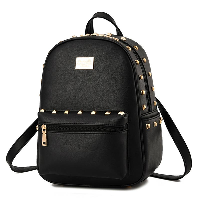 Brand Women PU Leather Backpack Rivet Backpack Simple Rucksack Girls School Bag for Teenager Girls Mochila