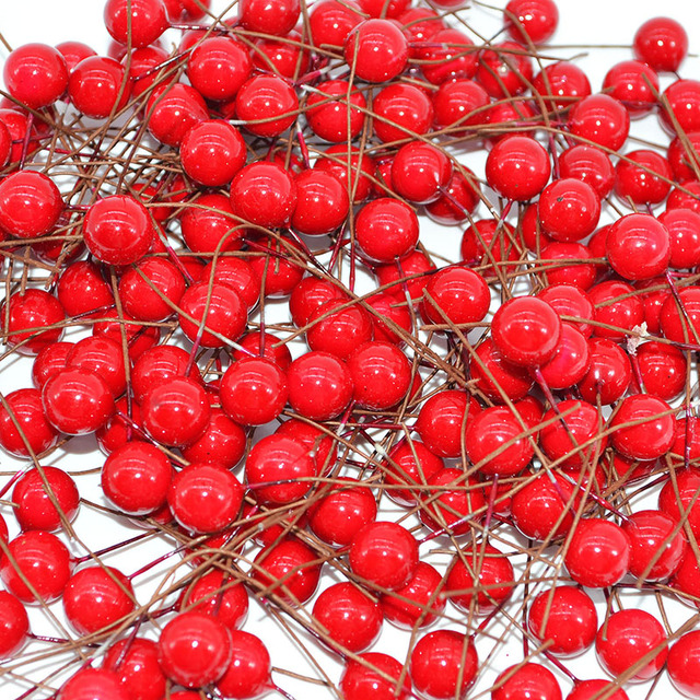 50pcs Mini Pearl Plastic Stamens Artificial Flowers Fruit Stamens Cherry for Wedding Christmas DIY Gift Box Wreaths Decoration 1