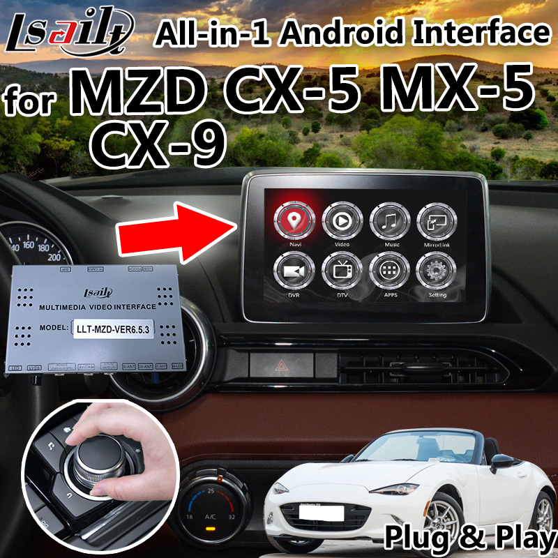 Все в 1 Plug & Play Android 6,0 7,1 8,0 gps навигации коробка для Mazda CX 5 MX 5 CX 9 с carplay Google Play OEM кнопку Управление