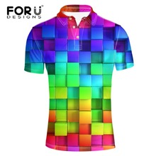FORUDESIGNS Men Polo Shirts Plaid Patchwork Short Sleeve Cool Mercerized Cotton Slim Fit Casual Business Luxury Brand