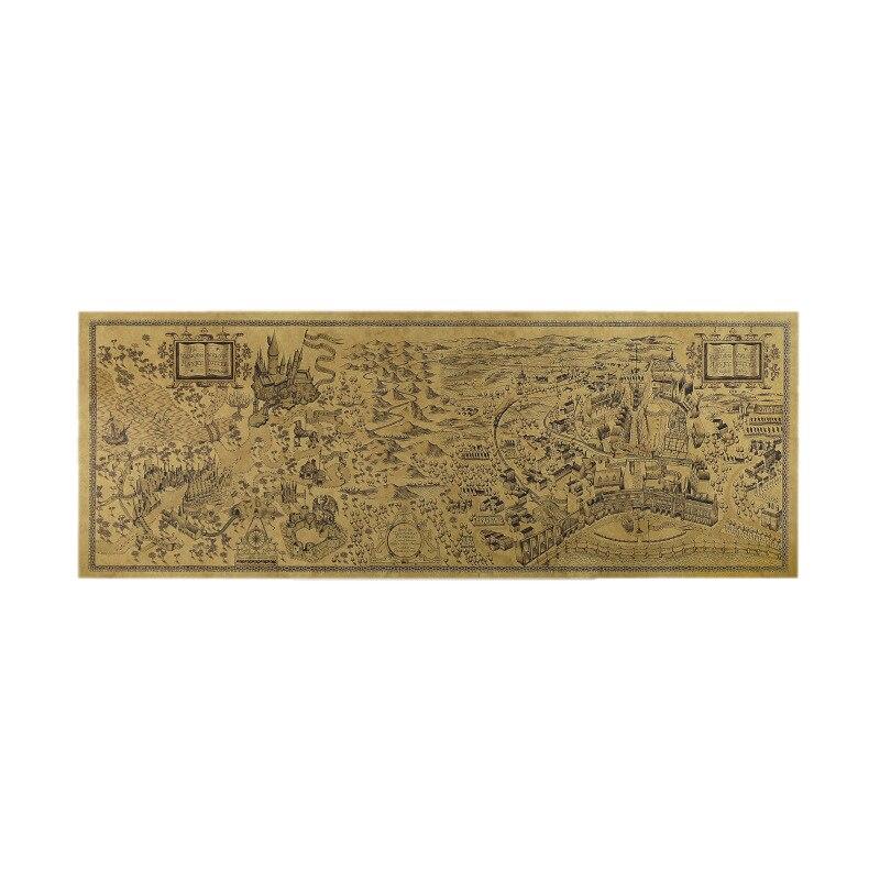 72x26 см Гарри Поттер Волшебная карта мира знаменитый вид Крафт-бумага постер для бара/Кафе Ретро плакат декоративной живописи