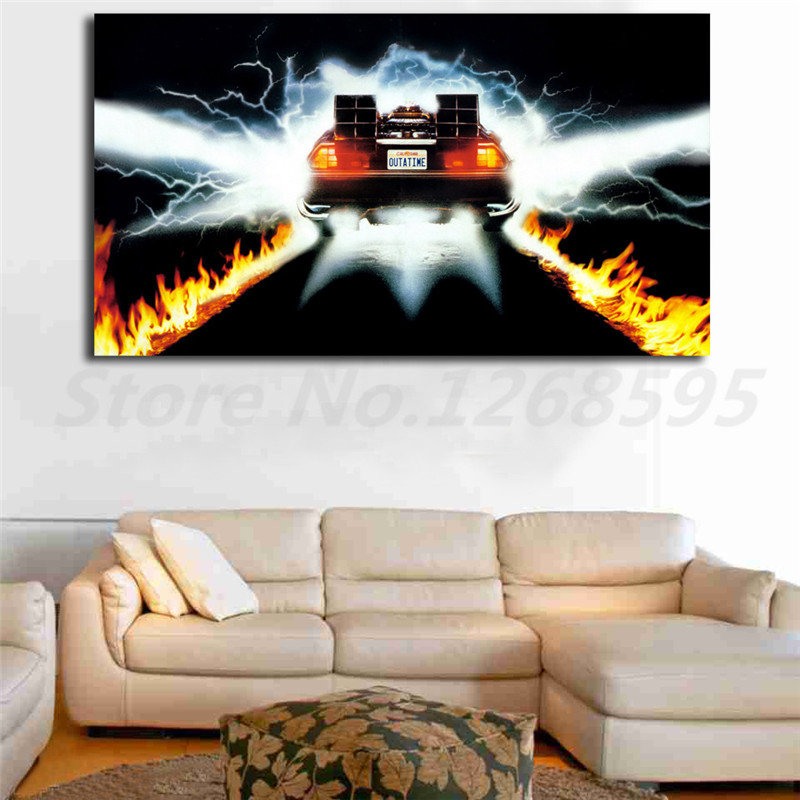 Us 57 5 Offback To The Future Movie Car Wallpaper Hd Canvas Posters Prints Wall Art Painting Decorative Picture Modern Home Decoration In Painting