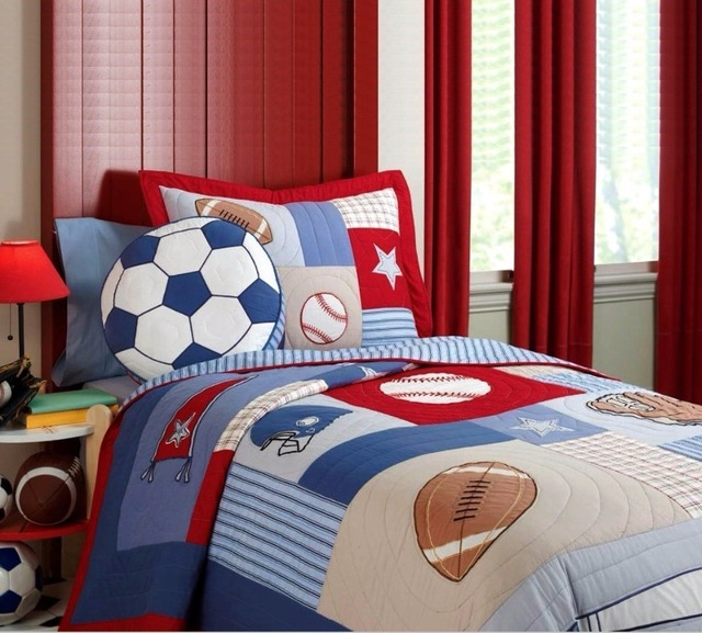 FADFAY Home Textile Bedspread 100% Cotton Kids Twin Size Sports Boys  Baseball Basketball Football Comforter