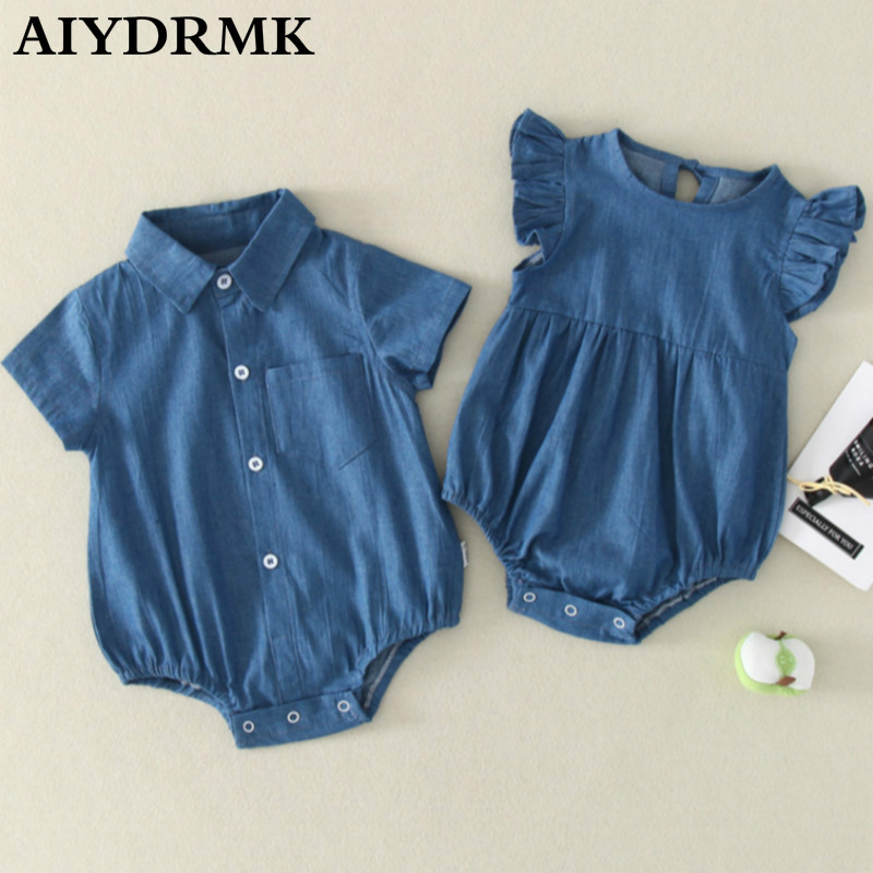 Baby Boy Girl Clothes Denim Twins Baby Rompers Brother Sister Toddler Baby Clothes Jumpsuit Newborn Kids Ruffle Romper Overall