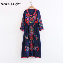 Viven Leigh Ethnic Loose Dress 2017 Women Vintage Flower Embroidery Dress Bohemian Floral Print Hallf Sleee Dress