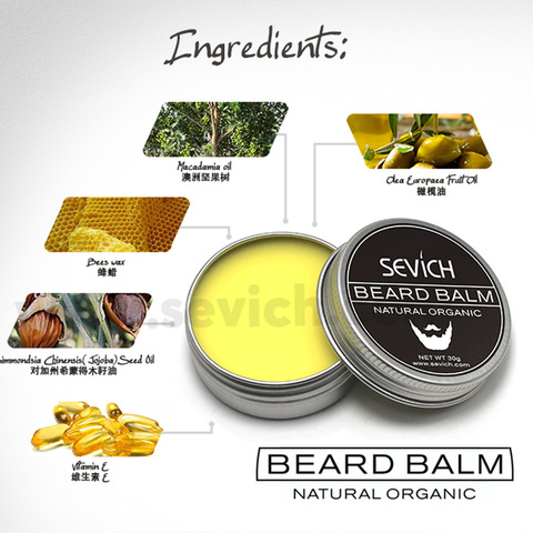 Natural Beard Balm Beard Conditioner Professional For Beard Growth Organic Mustache Wax For beard Smooth Styling 30g 60g sevich Lahore