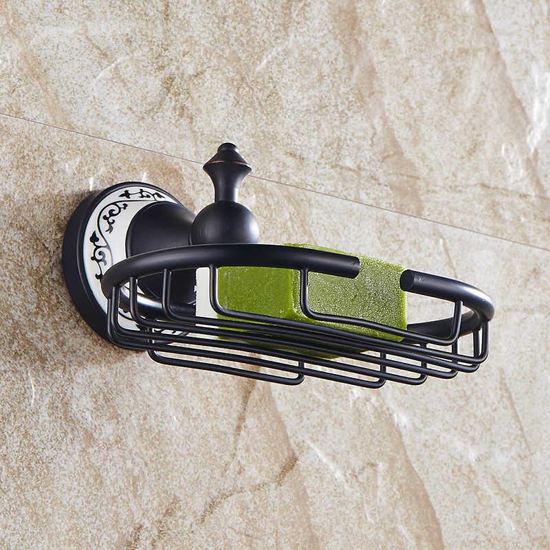 Mydelniczki czarne mydło Box miedzi do montażu na ścianie mydło kosz brązu uchwyt mosiądz akcesoria łazienkowe mydelniczka SY-080R
