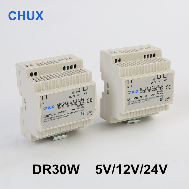купить DR 30W 12V 24V 48V 2.5A Single Output AC TO DC Din Rail Switching Power Supply 30W недорого