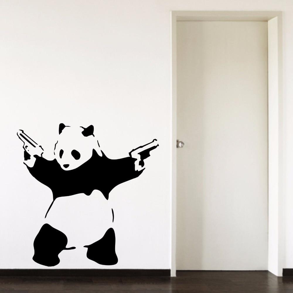 Banksy Panda, Pandamonium Salon Chambre Couloir Portrait Accueil Décalque de Fenêtre Amovible Vinyle Wall Art Decal Sticker B058