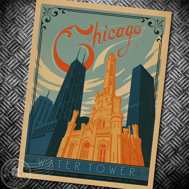 Chicago Water Tower Classic Retro Poster Movie Kraft Paper Wall Sticker Bar Cafe Living Room
