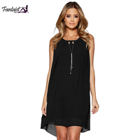 Fantaist Vestidos Mujer Loose Dress Ruffled Beading Sexy Open Back Sleeveless Casual Streetwear Black Novelty Black