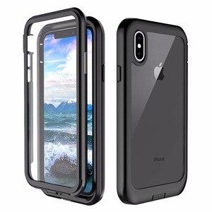 Para o iphone xs xs xs caso max, proteção resistente de corpo inteiro clara com protetor de tela embutido à prova de choque capa áspera