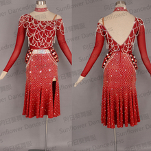 NEW Rumba Jive Chacha Latin Dance Dress,ballroom dress,dance wear, fringe latin dress ,Sunflower Dance Dress,wine,Competition La