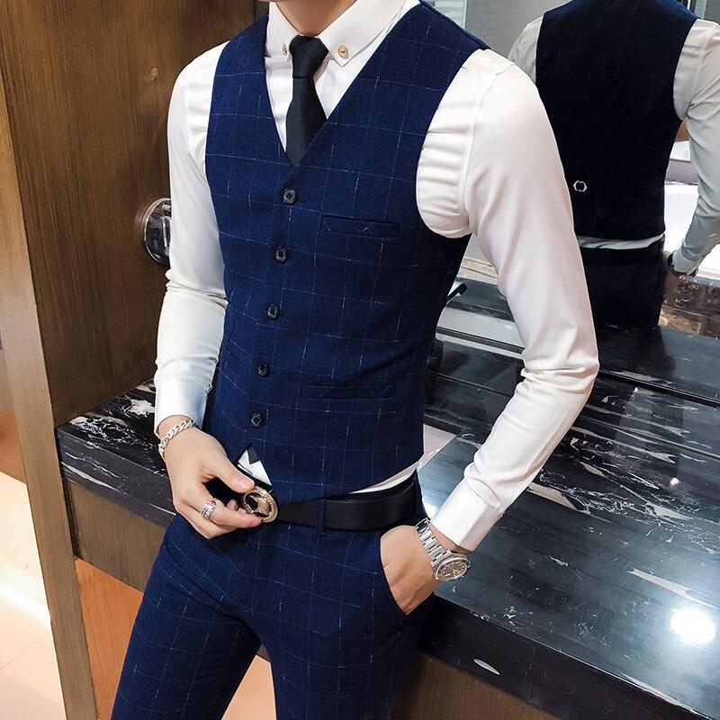 3XL Plaid Vest Men Business Casual