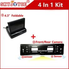 4.3 car TV monitor screen rearview camera car European license plate frame camera LED backup reverse camera IR 2 parking sensor