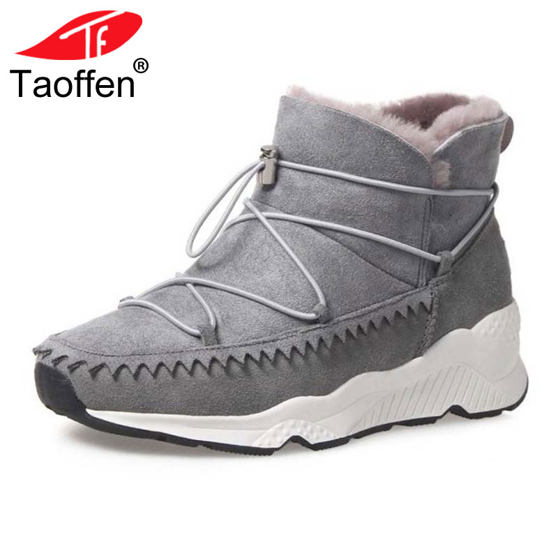 TAOFFEN Size 34-42 Warm Winter Shoes Women Real Leather Warm Fur Ankle Snow Boots Women Cross Strap Thick Platform Winter Botas