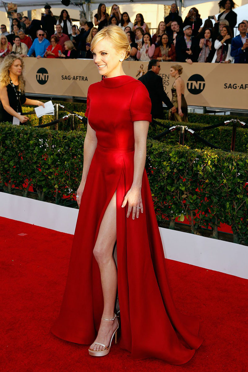 2017 red satin short sleeves a line celebrity dress long prom dress high neck side split sexy - Designer dresses red carpet ...