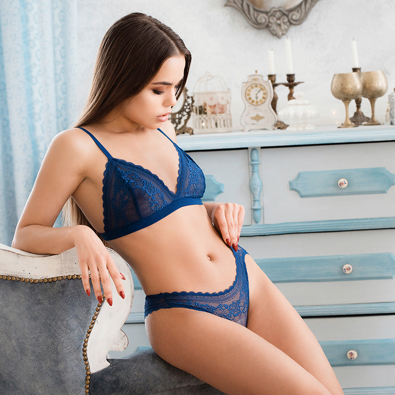 2019 New Style Summer lace thin cup   bra     set   best breathable fabric comfortable underwear   set   women panties wire free