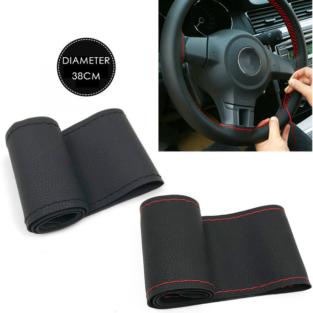 Car Steering Wheel Cover Genuine Leather With Soft Anti-Slip Black DIY Braid & Needles Thread Fit For 38cm Diameter