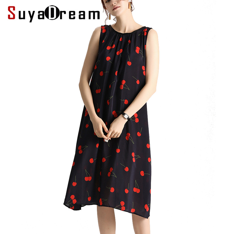 Women Long Dress 100 Real Silk Holiday Cherry Print Dresses A Line Sleeveless 2019 New Summer