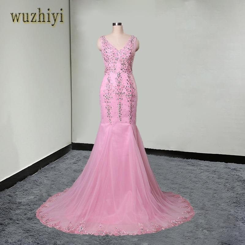 wuzhiyi vestido de formatura longo em vestidos de baile Pink Mermaid long   Prom     dresses   2017 Crystal Beads Embroidery   Prom   gowns